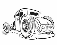 lowboy deuce hot rod cars coloring pages