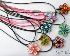 Quilled Necklace, Quilling Jewelry, Paper Flower Necklace, Floral Design Necklace, Quilling Necklace
