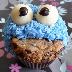 vegan cupcake, Cookie Monster, but use the idea ~ low choc. cupcake topped with cookie then decorate.