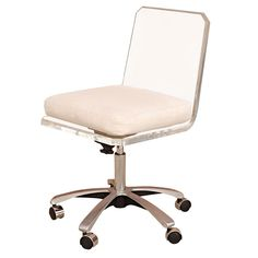 Lucite Swivel Base Desk Chair With White Cushion 1960s
