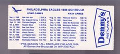 1988 PHILADELPHIA EAGLE DENNYS RESTAURANT FOOTBALL POCKET SCHEDULE FREE SHIPPING #SCHEDULE