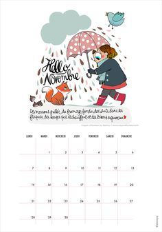 calendrier-printable-novembre-minireyve-mathou                                                                                                                                                                                 Plus Agenda Planner, Happy Planner, Filofax, Hello Novembre, Printable Planner, Printables, Planners, Organization Bullet Journal, Autumn Illustration
