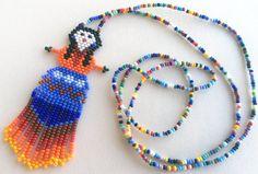 Mexican Huichol Beaded Doll Necklace by Aramara on Etsy