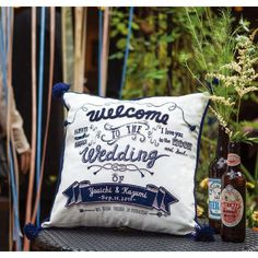 """Embroidery Welcome cushion """"Tie a knot of Love"""" by Emby ウェルカムボード ウェルカムクッション Welcome Board"""