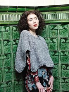ac2f9c933 Knit this womens versatile poncho with garter stitch edging from Easy  Winter Knits. A design by Martin Storey using Alpaca Chunky