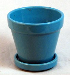 """Fiesta Ceramic Pot/Saucer - Retro Blue - 4.5"""" x 4.3"""" by Hirts: Pots. $6.99. Great for all house plants. 4.5"""" x 4.3"""". Attached saucer. New Fiesta colors. Retro Blue heavy glazed pot. A stylish and functional pot with an attached saucer. Ideal for plants such as: African Violets, Asparagus Fern, Boston Fern, Christmas Cactus, Chrysanthemum, Grape Ivy, Swedish Ivy, Peace Lily, Philodendron, Poinsettia, Spider Plant, and virtually every other house plant."""