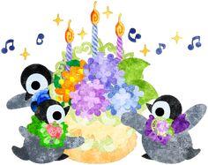 おしゃれで可愛い赤ちゃんペンギンとバースデーケーキ