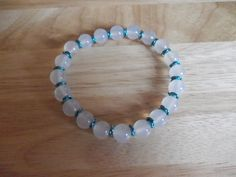 White agate and teal coloured chainmaille spacers elasticated bracelet £7.50
