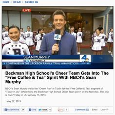 #Beckman cheer with #SeanMurphy High School Cheer, Jackson Family, Bakery, Tea, Coffee, Kaffee, Cup Of Coffee, Teas