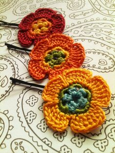 Crochet Flower Hair Pins Red Orange Yellow Green by CatWomenCrafts, $10.00