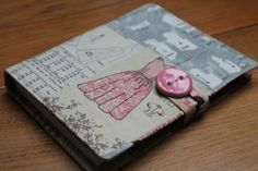 A6 notepad, notebook,with removable cover in vintage dressmaking print fabric £12.00