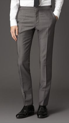 $395, Grey Wool Dress Pants: Burberry Slim Fit Wool Mohair Trousers. Sold by Burberry. Click for more info: http://lookastic.com/men/shop_items/208001/redirect
