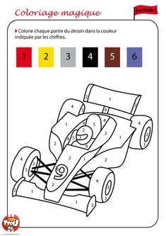 Coloriage De formule 1 - From the thousand pictures on the net with regards to Coloriage De Formule choices the ver Creative Activities For Kids, Educational Activities For Kids, Math For Kids, Preschool Learning, Teaching Kids, Kids Math Worksheets, 1st Grade Worksheets, Animal Crafts For Kids, Color By Numbers
