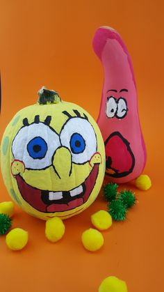 Feeling creative? You can make this DIY SpongeBob painted pumpkin and surprised Patrick gourd!