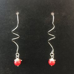 Christmas Spiral Earrings with Red Coral Bead and Custom Wrap 999 Pure and Sterling Silver by MJDesigns4You on Etsy