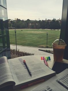 persistenceandpositivity:  One my goals for November is to study at 5 libraries at my university, that I haven't been to before, before I graduate. This is 1/5. Pretty good view I reckon, even better when the male soccer team was playing ;)