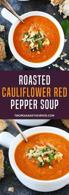 Roasted Cauliflower Red Pepper Soup is an easy and healthy vegetarian soup that is great for lunch or dinner. #soup #souprecipes #cauliflower #vegetarian #glutenfree #healthyrecipes