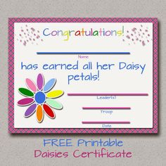 Girl Scouts: FREE Printable Daisy Petals Certificate