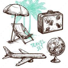 Travel Sketch Decorative Icon Set Vector EPS
