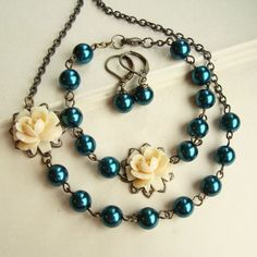 Teal Blue Pearl Necklace, Earrings & Bracelet SET, Cream Rose Necklace, Blue and Cream Bridal Party Jewelry. PALOMA. $48.00, via Etsy.