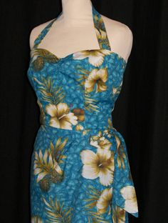 Vintage 1950s inspired Hawaiian sarong halter by OuterLimitz