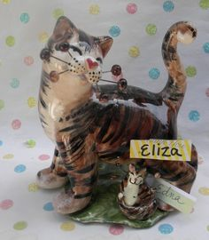 """""""Eliza & baby Edna"""" Mother's day Tabby WhimsiClay Cat figurines #WhimsiClay"""
