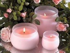 <3<3~Pink candles and roses reflect on the mirrored placemat.