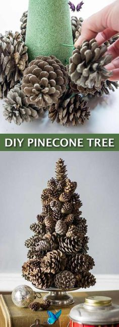 Easy DIY Cheap Christmas Decor-- super easy pine cone tree craft! Lots of craft ideas for adults for the home, for fun, for gifts, to sell and more! Some of these would be perfect for Christmas or other holidays. A lot of awesome projects here! Listotic.com<br> Cheap Christmas, Simple Christmas, Christmas Crafts, Christmas Decorations, Homemade Christmas, Pine Cone Tree, Cone Trees, Navidad Simple, Navidad Diy