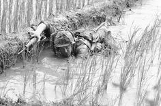 Pfc. Lacey Skinner of Birmingham, Ala., crawls through the mud of a rice paddy in January of 1966, avoiding heavy Viet Cong fire near An Thi in South Vietnam, as troops of the U.S. 1st Cavalry Division fight a fierce 24-hour battle along the central coast. (AP Photo/Henri Huet)