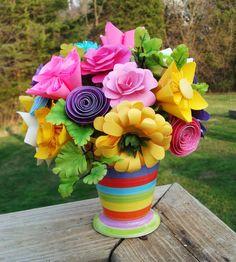 Paper Flower Arrangement in striped VaseBright by SweetPeasFlorals, $28.00