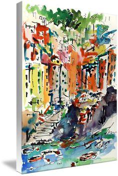 Italy Riomaggiore Expressive Modern Watercolor by Ginette Callaway