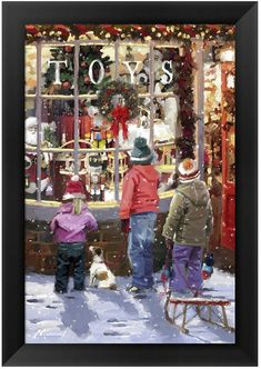 The Macneil Studio Solid-Faced Canvas Print Wall Art Print entitled Toy Shop Merry Little Christmas, Vintage Christmas Cards, 1st Christmas, Xmas Cards, Christmas Shopping, Christmas Ideas, Christmas Goodies, Christmas Stuff, Holiday Ideas