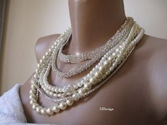 Bold Bridalchunky layered ivory glass pearl ultra by galladesign, $120.00