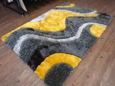 Indoor Durable Grey with Yellow Shag 100 Percent Polyester Hand Tufted & Hand Made Doormat Area Rug (Exact Size 2 Feet x 3 Feet), Size: Small Yellow Bathroom Rugs, Pom Pom Rug, Latch Hook Rugs, Fru Fru, Yellow Area Rugs, Grey Yellow, Dark Grey, Gray, Indoor Rugs