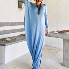 Sky Blue Asymmetric Maxi Dress Kaftan by Synthia Couture