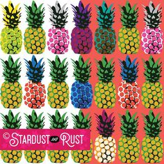 """PATTERN: """"Pop-Art Pineapples"""" ©2017 Stardust and Rust Gallery  The perfect pop of color for summer swimwear! Get noticed in this graphic print. Easy customization for use on multiple surface platforms is available with this Illustrator Vector art. DM us for details!  #stardust #stardustandrust #stardustandrustgallery #swimwear #bikini #surfacedesign #patterndesign #phonecase #electronicsdesign Retail Trends, Summer Swimwear, Graphic Prints, Surface Design, Platforms, Vector Art, Rust, Color Pop, Pop Art"""