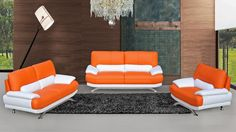 This wonderful image selections about Orange Leather Furniture is available to save. Sofa Set Designs, Design Set, Sofa Design, Purple Couch, Sofa Inspiration, Apartment Sofa, Leather Furniture, Orange Leather, Modern Sofa