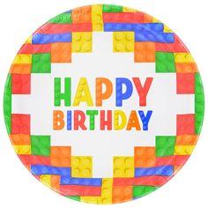 Building Blocks Paper Party Plates, 9 in. Lego Themed Party, Lego Birthday Party, 6th Birthday Parties, Boy Birthday, Happy Birthday, Birthday Celebration, Birthday Cakes, Birthday Ideas, Legos