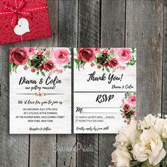 Spring Wedding Invitation Rose Wedding Invitation Floral Wedding Invitation Romantic Wedding Invitation Chic Wedding Invitation Printable …