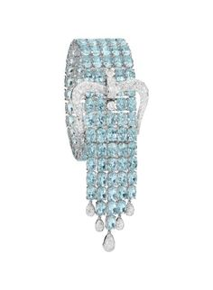 Diamond Jewelry ADLER A Blue Topaz and Diamond Bracelet Designed as five lines of oval-cut blue topaz, enhanced by a pavé-set diamond buckle and fringe, mounted in white gold, length 7 inches with 2 inch over hang. Bling Bling, Color Turquesa, Black Gold Jewelry, Fine Jewelry, Unique Jewelry, Bracelet Designs, Diamond Jewelry, Diamond Necklaces, Turquoise