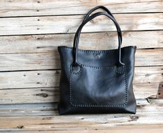 Black Leather  Every Day Tote bag / Large tote bag by FeralEmpire, $325.00