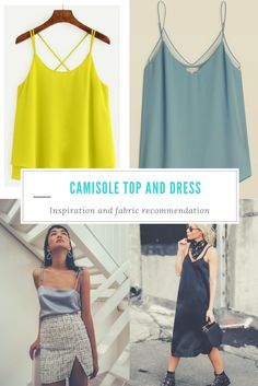 The Camisole Top and Dress inspiration and fabric recommendation: Get inspired to create a beautiful camisole top or dress with this PDF sewing pattern
