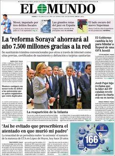 Los Titulares y Portadas de Noticias Destacadas Españolas del 21 de Junio de 2013 del Diario El Mundo ¿Que le parecio esta Portada de este Diario Español?