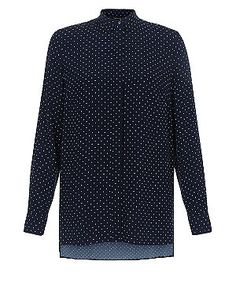 Blue Polka Dot Print Longline Shirt  | New Look