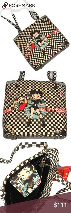 ⚡️SOLD⚡️VTG Betty Boop Checkered Milkshake Handbag Hi! This item sold and is no longer available. Thanx for your interes.  Collectible Official Licensed Betty Boop Novelty Handbag  Classic checkered fabric With drive thru milkshake graphic  Embellished with rhinestones  Button closure  Inner pockets  Xcellent vintage condition✨ New with tags Betty Boop Bags Satchels