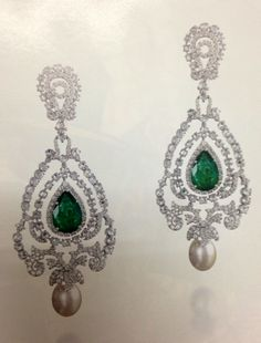 #diamond #emerald earrings Farah Khan