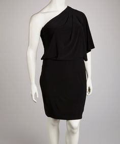 Take a look at this Black Asymmetrical Drape Dress - Plus by Jessica Simpson Collection on #zulily today!