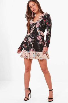 boohoo Petite Felicity Floral Print Ruffle Detail Tea Dress | a fun mixing of patterns mini dress with light pink and blue flowers, and black and red flowers | affiliate link | Boohoo