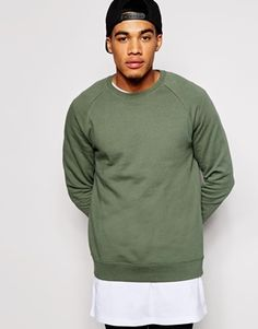 ASOS Sweatshirt With Crew Neck And Raglan Sleeves