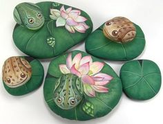 Ohhh... Rock painting by Ernestina Gallina. I can see one of these nestled in the ferns of a terrarium